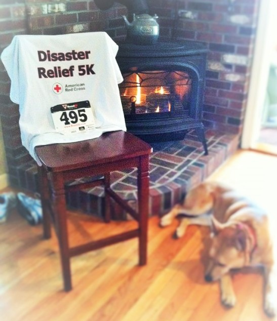 My tee, my number, my running shoes, my dog AND a crackling fire.