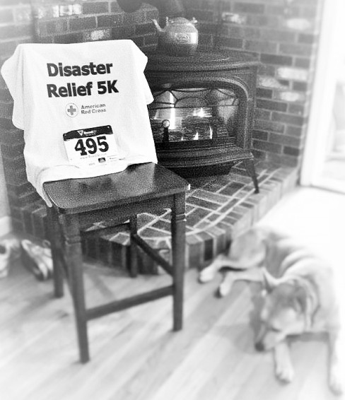 My tee, my number, my running shoes, my dog...all that AND a warm crackling fire.