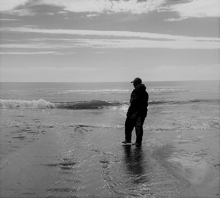 corinne-at-hampton-beach-bw